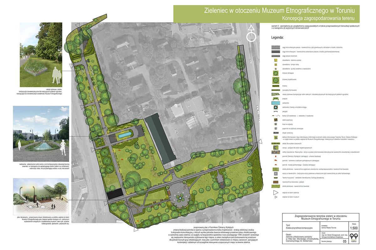 Zagospodarowanie terenów zieleni w otoczeniu Muzeum Etnograficznego w Toruniu